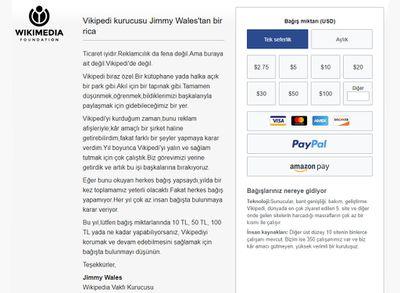 Wikipedia Vakfı, her yıl düzenli olarak milyonlarca dolar bağış toplayarak                  faaliyetlerini reklamsız bir şekilde sürdürmeye çalışmaktadır.