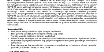 Türkiye'de Aşı Kararsızlığının İncelenmesi: Araştırma Asistanı İlanı