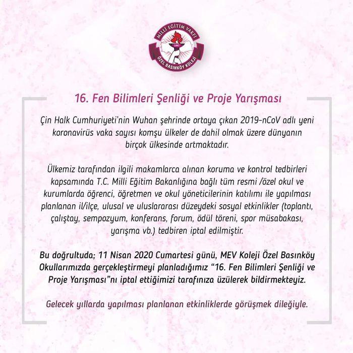 """MEV Koleji Özel Basınköy Okulları """"16. Fen Bilimleri Şenliği ve Proje Yarışması"""""""