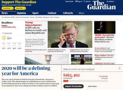 İngiltere'nin en saygın gazetelerinden The Guardian, hemen her sayfasında birden fazla               noktada okurlarından maddi destek isteyerek, ücretsiz bir şekilde basılı ve dijital               yayın hayatını sürdürmeye çalışmaktadır.